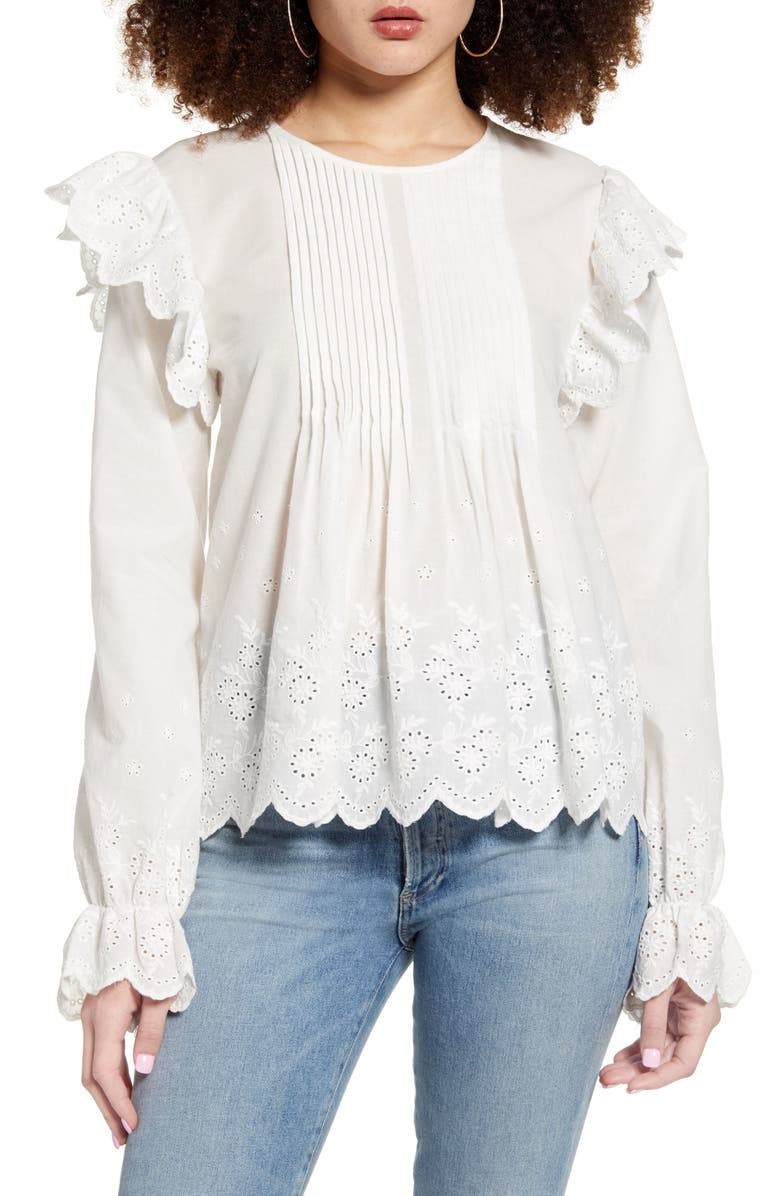 ENGLISH FACTORY Eyelet Lace Pintuck Cotton Blouse, Main, color, WHITE