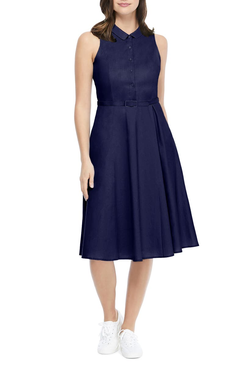 GAL MEETS GLAM COLLECTION Rose Sleeveless Stretch Cotton Poplin Shirtdress, Main, color, NAVY