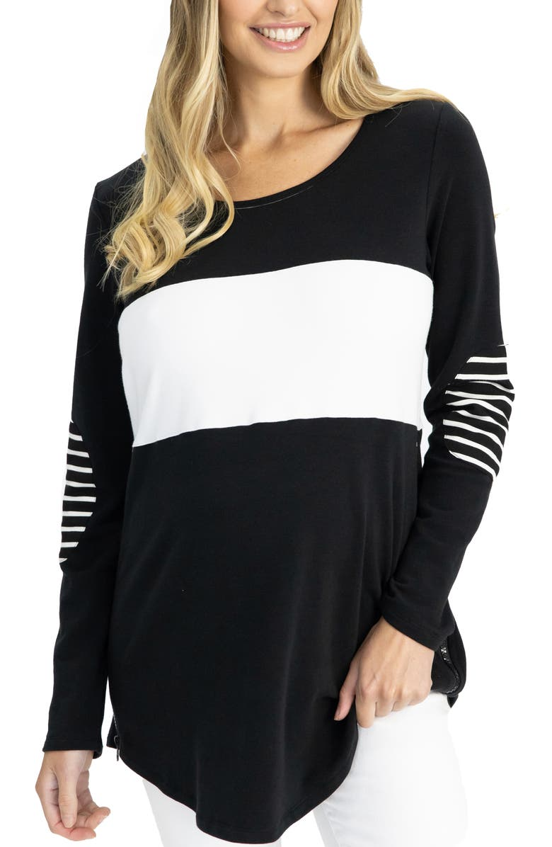 ANGEL MATERNITY Colorblock Long Sleeve Maternity/Nursing Top, Main, color, BLACK AND WHITE