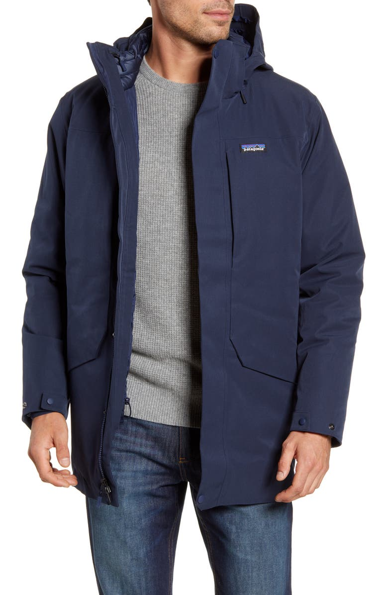 PATAGONIA Tres 3-in-1 Water Repellent 700 Fill Power Down Parka, Main, color, NEW NAVY