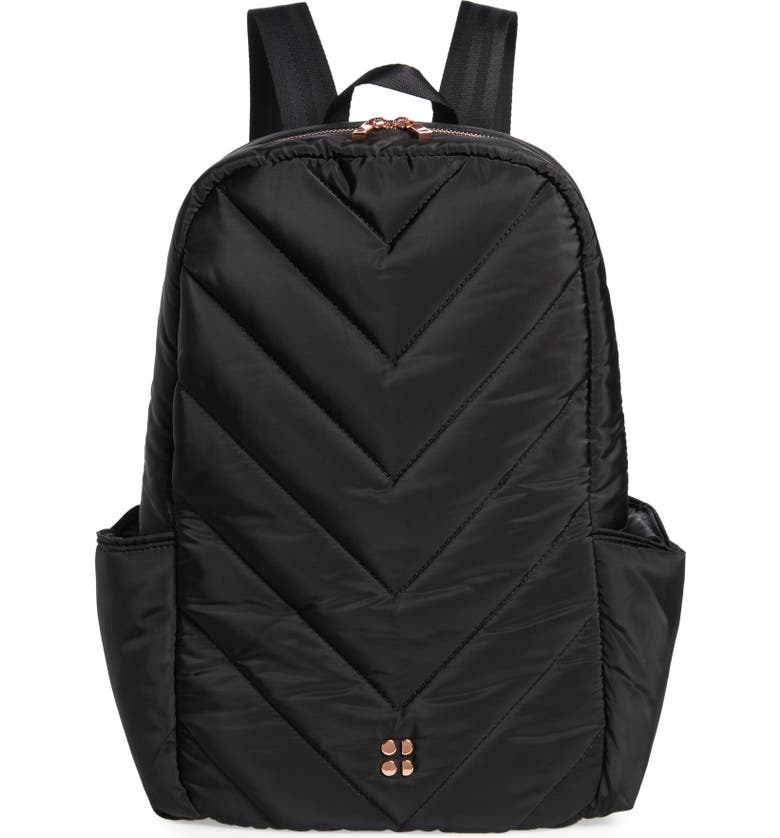 SWEATY BETTY Icon Quilted Black Backpack, Main, color, 001