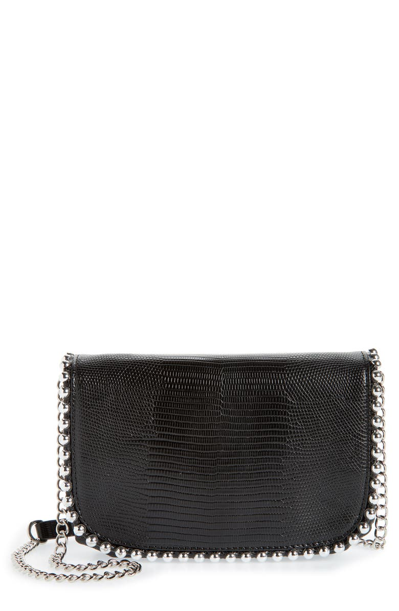 NORDSTROM Bianca Ball Chain Trim Leather Wallet on a Chain, Main, color, BLACK
