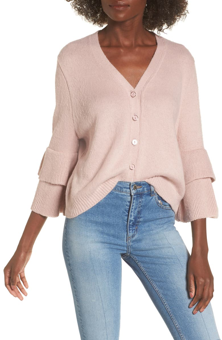 LOST INK Tiered Sleeve Cardigan, Main, color, 650