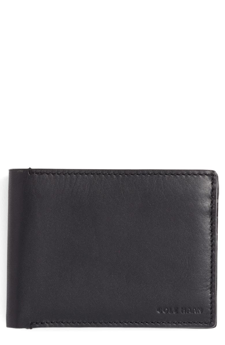 COLE HAAN Bifold Leather Wallet with Pass Case, Main, color, 001