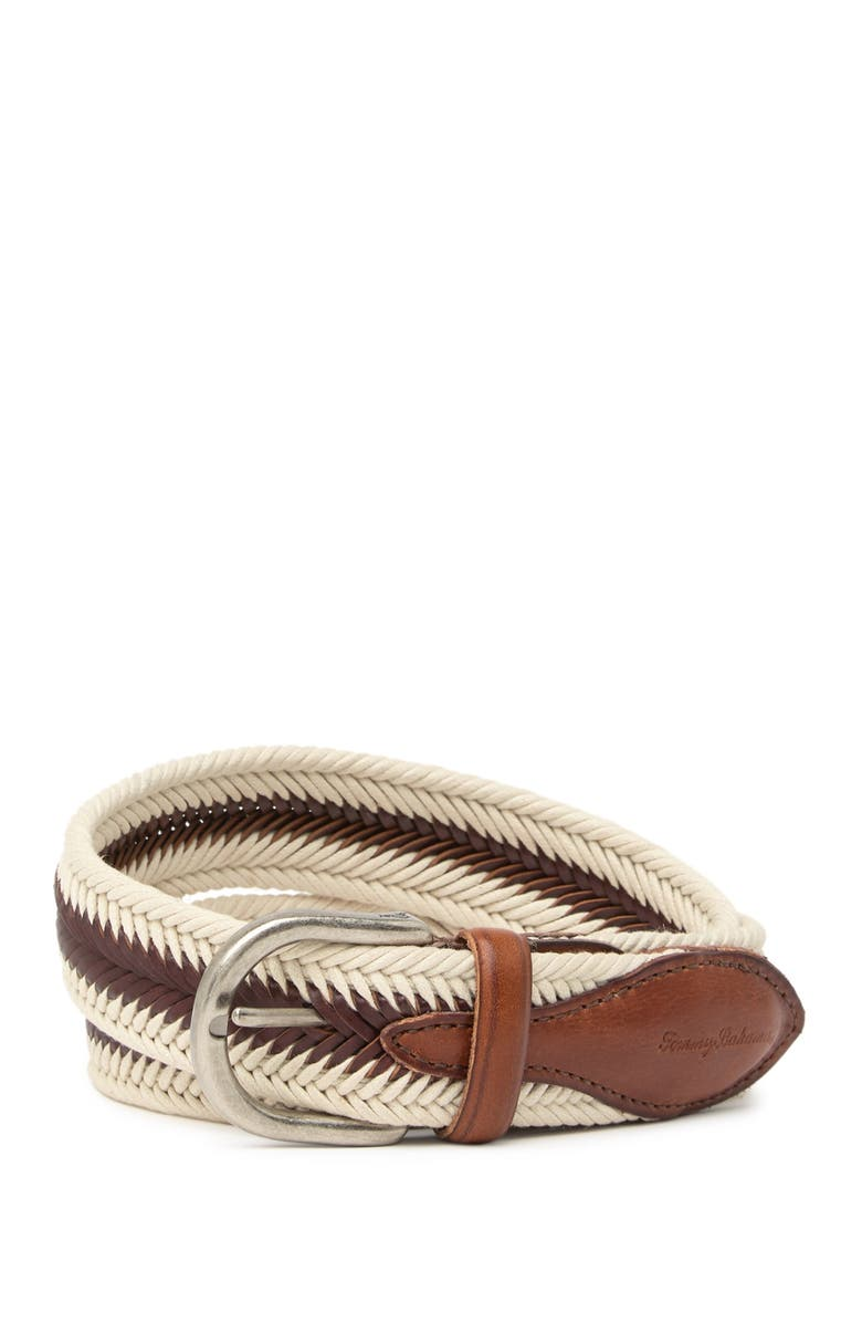 TOMMY BAHAMA Braided Leather & Fabric Belt, Main, color, CREAM