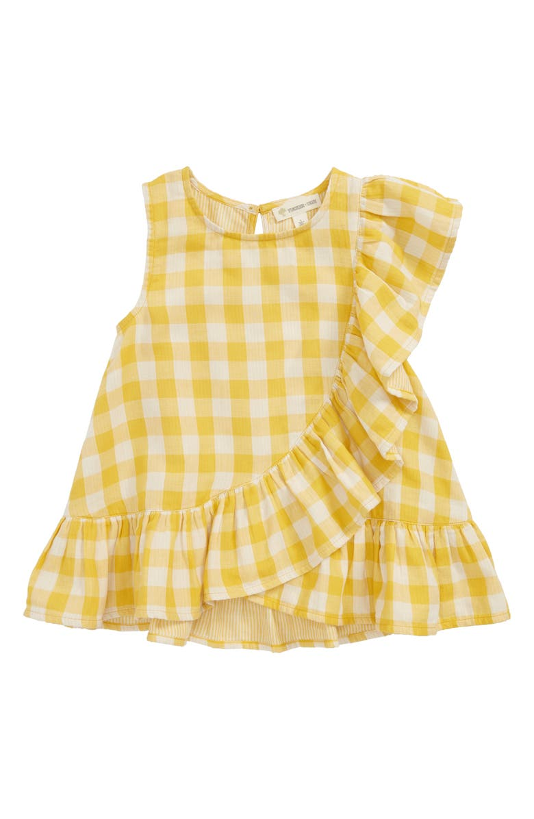 TUCKER + TATE Gingham Ruffle Top, Main, color, YELLOW BELL- WHITE CHECK