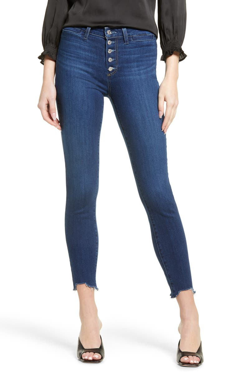 PAIGE Transcend - Hoxton High Waist Button Fly Chewed Hem Ankle Skinny Jeans, Main, color, STAR SIGN W/ RAW CHEW HEM