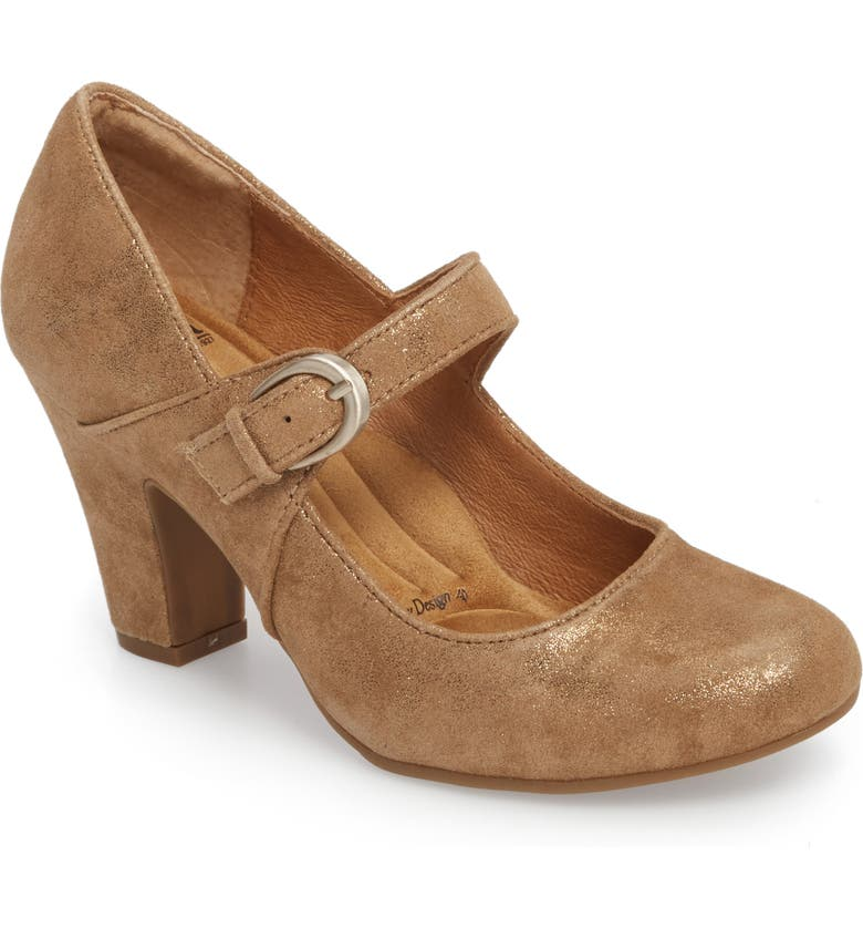 SÖFFT 'Miranda' Mary Jane Pump, Main, color, GOLD DISTRESSED FOIL SUEDE