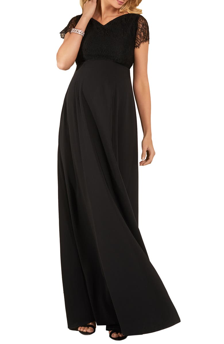 TIFFANY ROSE Eleanor Maternity A-Line Gown, Main, color, BLACK