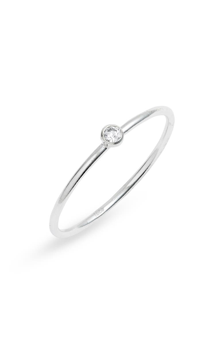 SET & STONES Presley Stacking Ring, Main, color, SILVER/ CLEAR