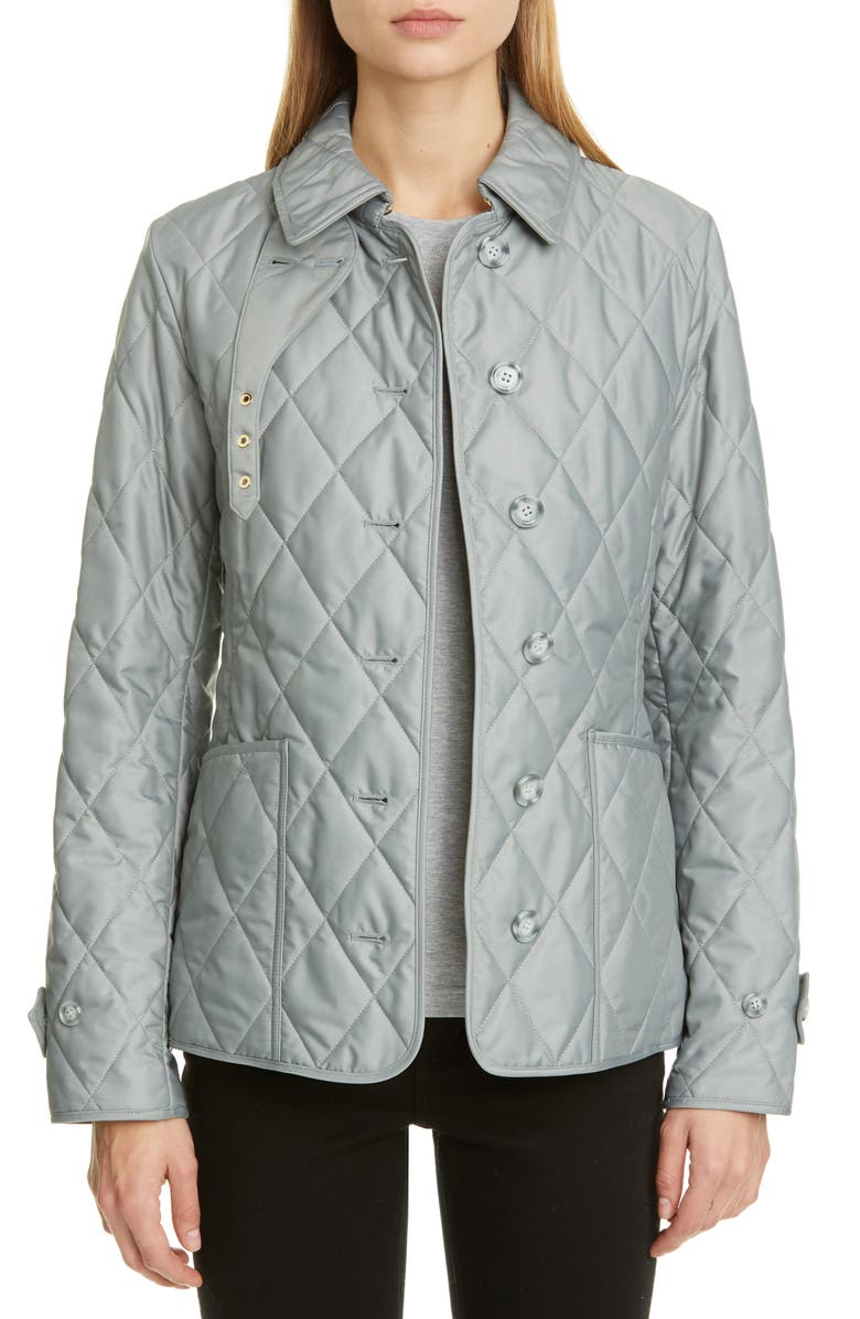 BURBERRY Fernleigh Thermoregulated Diamond Quilted Jacket, Main, color, MID GREY