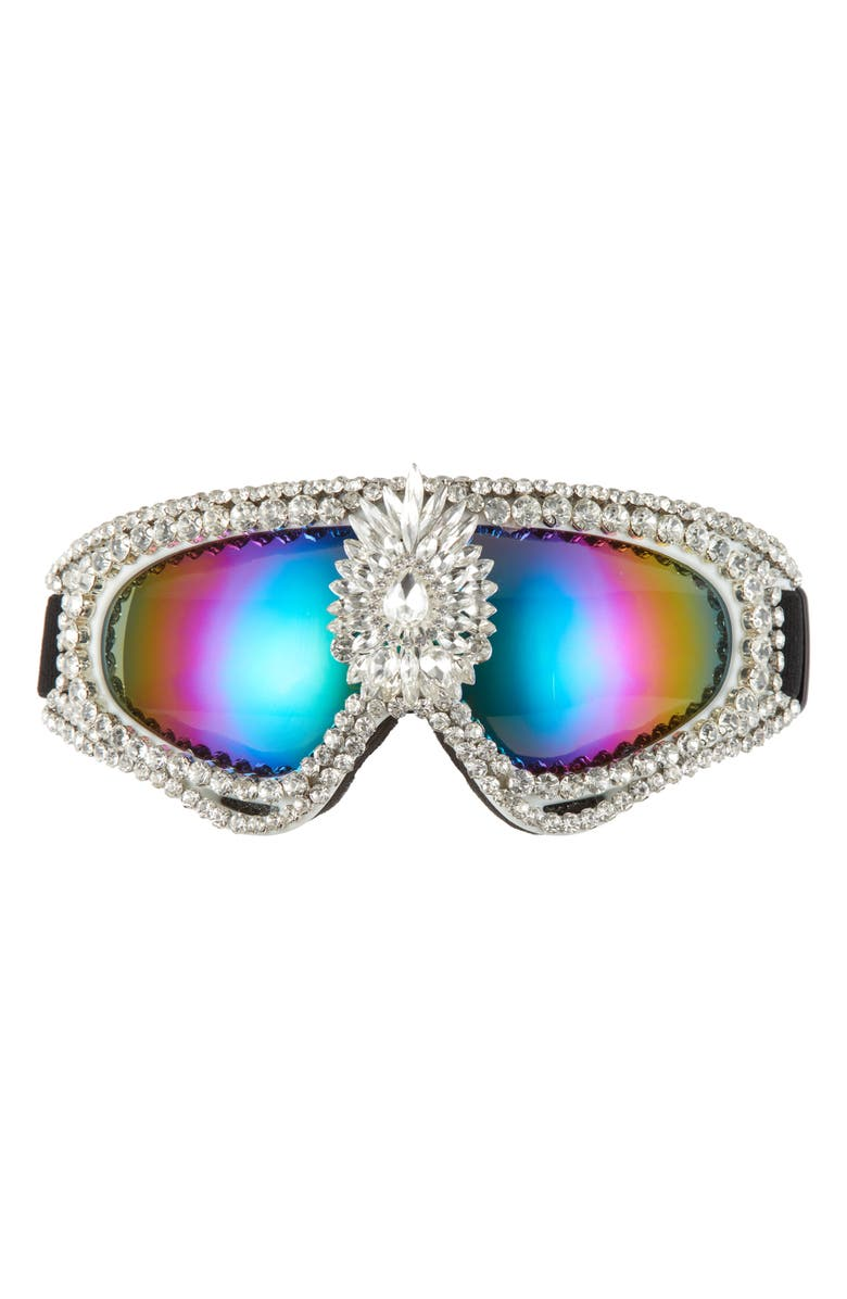 RAD + REFINED Crystal Embellished Mirrored Snow Goggles, Main, color, WHITE