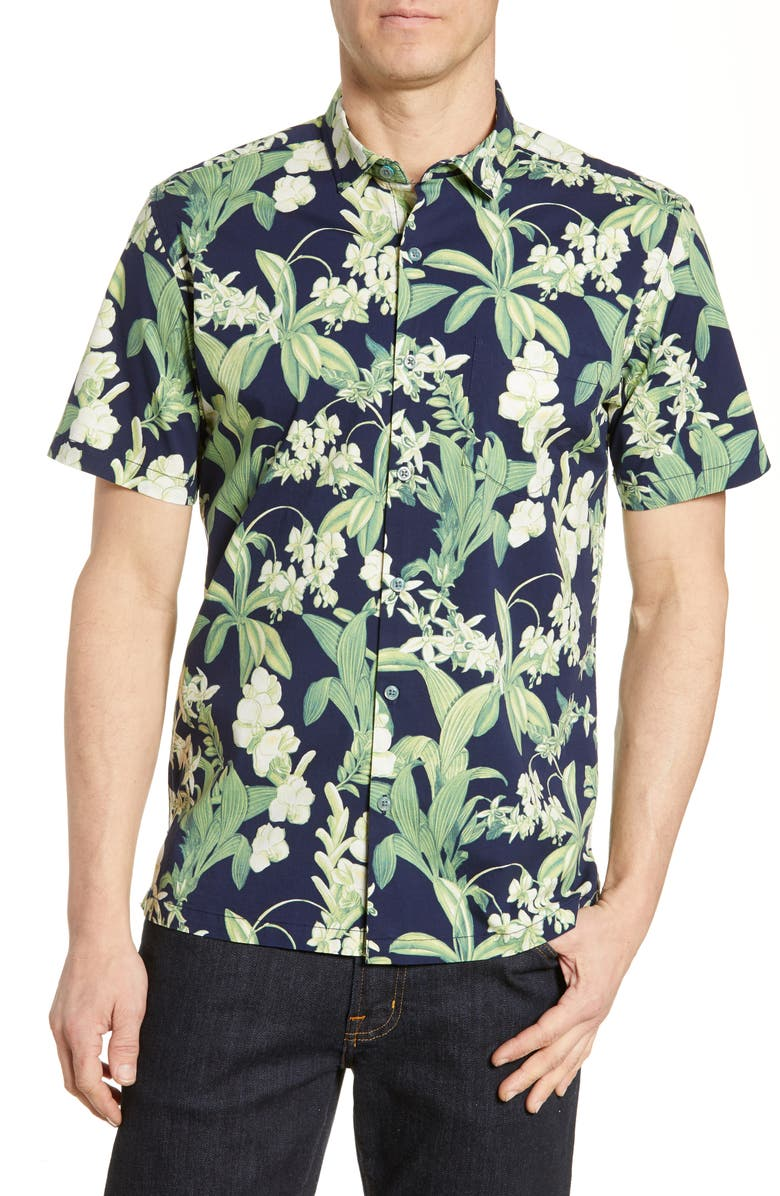 TORI RICHARD Botanist Short Sleeve Floral Button-Up Shirt, Main, color, 415