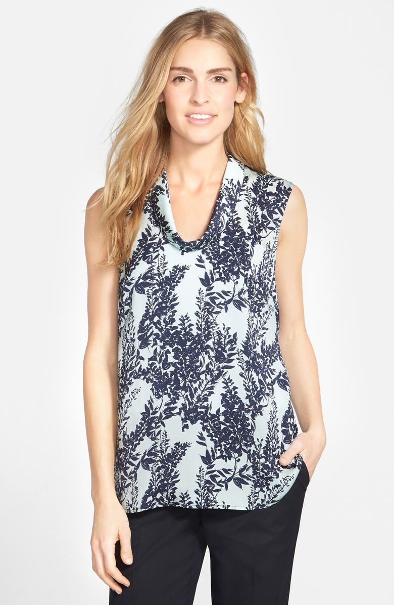 HALOGEN<SUP>®</SUP> Print Sleeveless Cowl Neck Top, Main, color, BLUE- NAVY WISTERIA PRINT