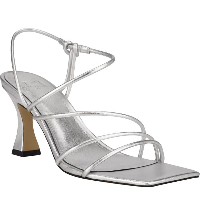 MARC FISHER LTD Dami Strappy Sandal, Main, color, SILVER LEATHER