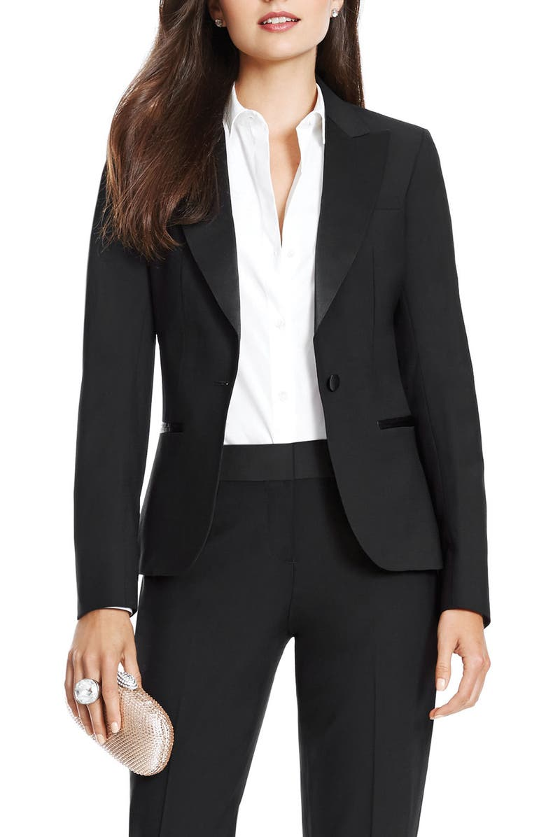 AFTER SIX Wool Blend Tuxedo Jacket, Main, color, 001