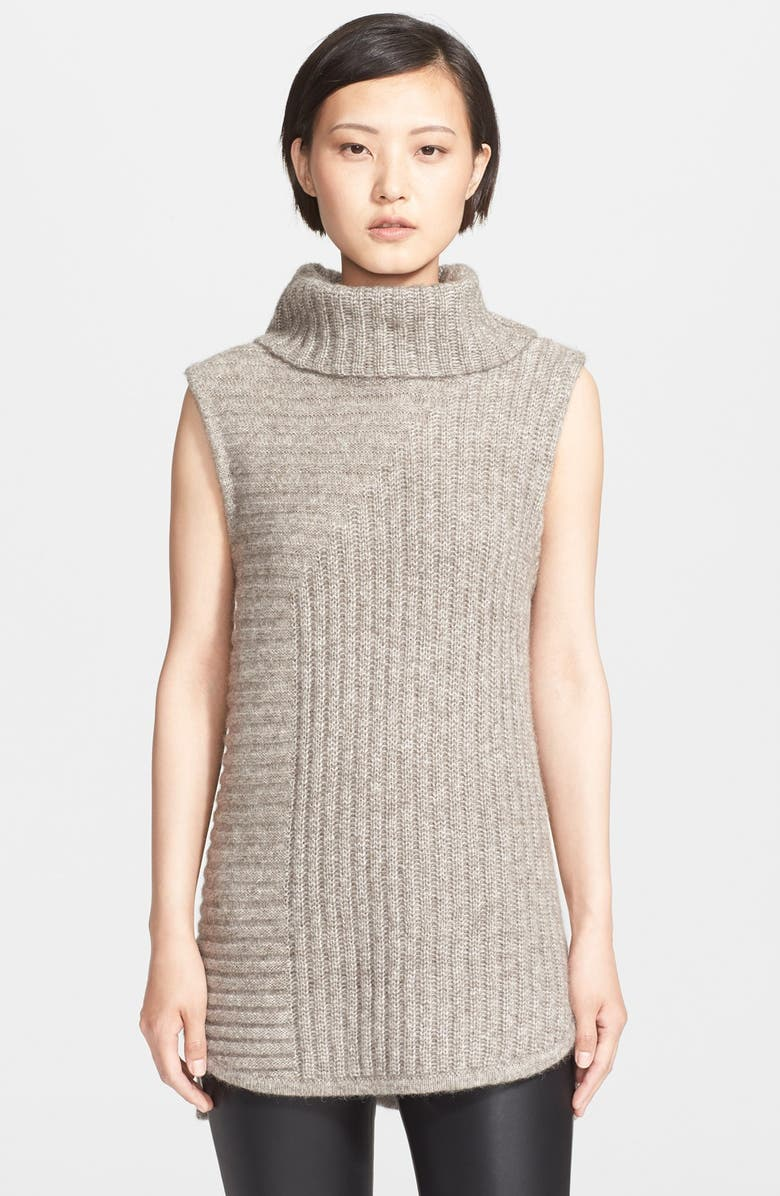 THEORY 'Beylor T' Ribbed Knit Turtleneck Tunic Vest, Main, color, STONE GREY