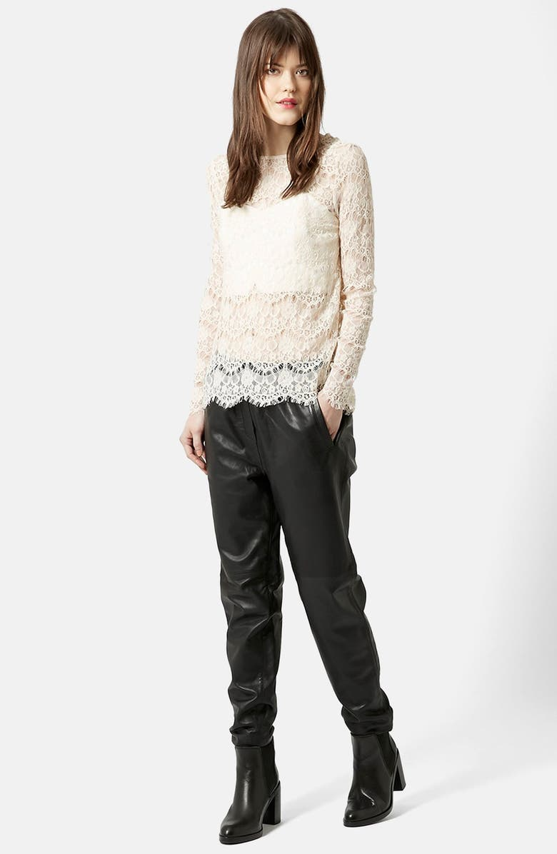 TOPSHOP Long Sleeve Lace Top, Main, color, CREAM