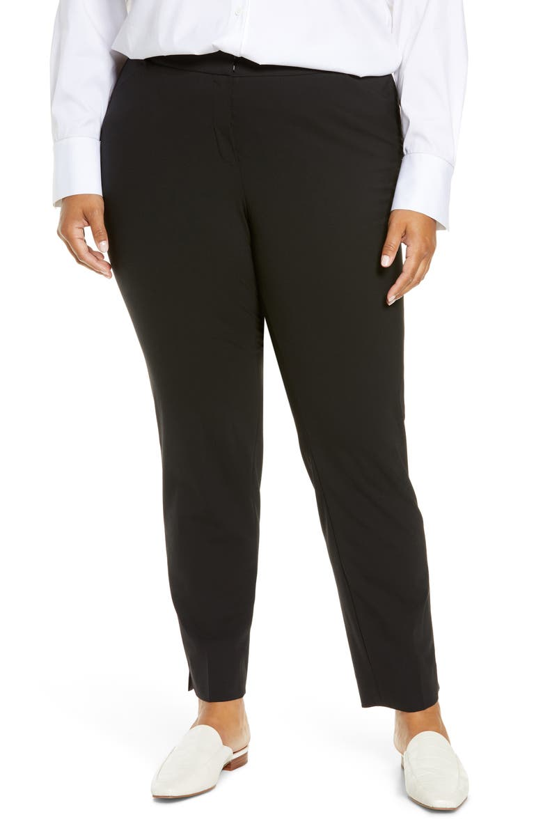LAFAYETTE 148 NEW YORK Irving Stretch Wool Pants, Main, color, BLACK