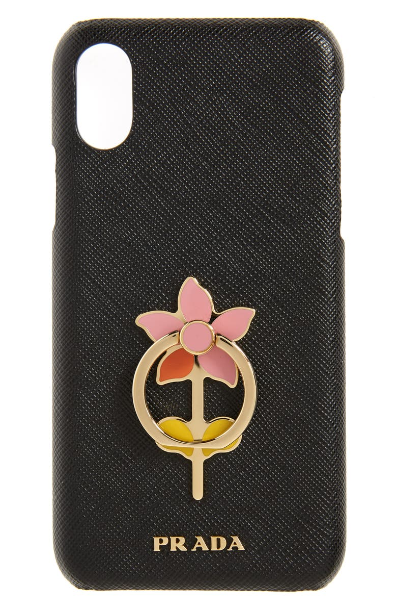 PRADA Flower Ring Saffiano Leather iPhone 11 Pro Max Case, Main, color, 001