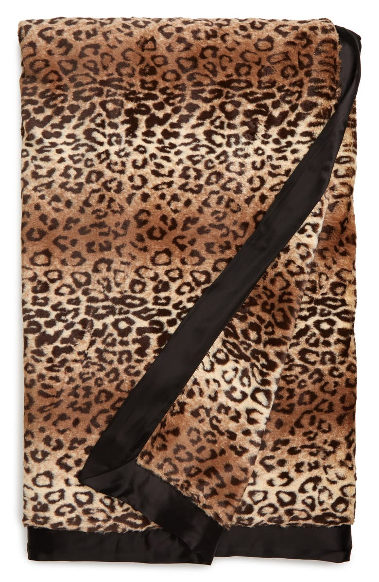 GIRAFFE AT HOME Luxe<sup>™</sup> Espresso Leopard Faux Fur Throw Blanket, Main, color, LUXE ESPRESSO LEOPARD