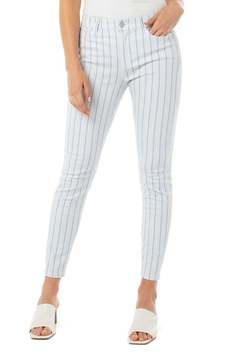 LIVERPOOL Abby Stripe Ankle Skinny Jeans, Main, color, BLUE DOT STRIPE