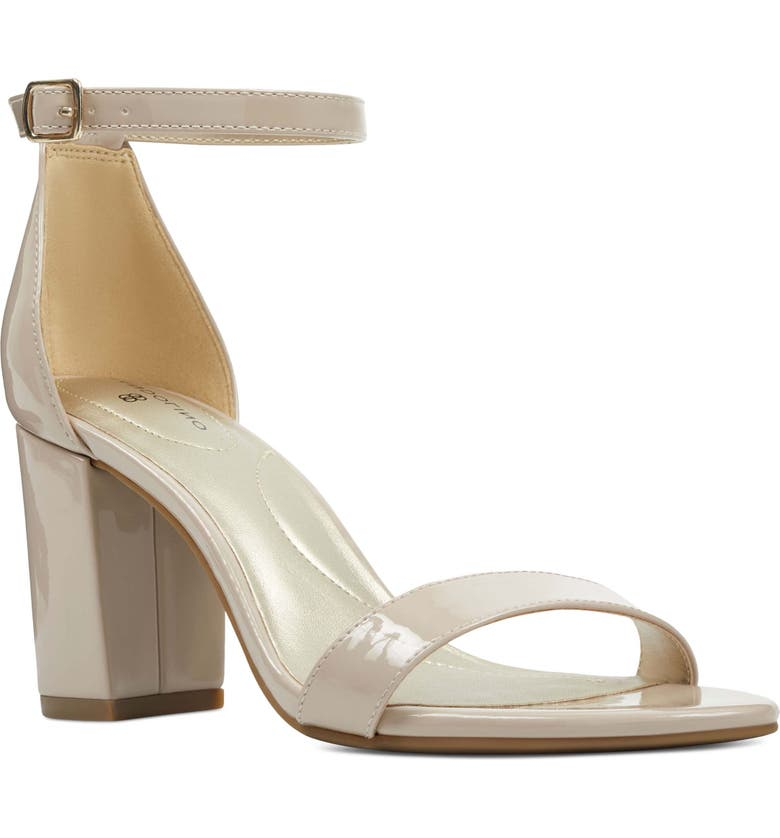 BANDOLINO Armory Ankle Strap Sandal, Main, color, NUDE FAUX PATENT LEATHER