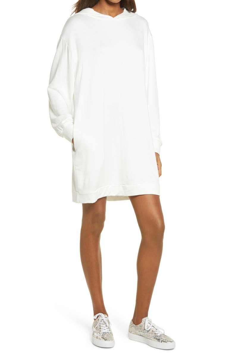 FRAICHE BY J Long Sleeve Hoodie Dress, Main, color, IVORY