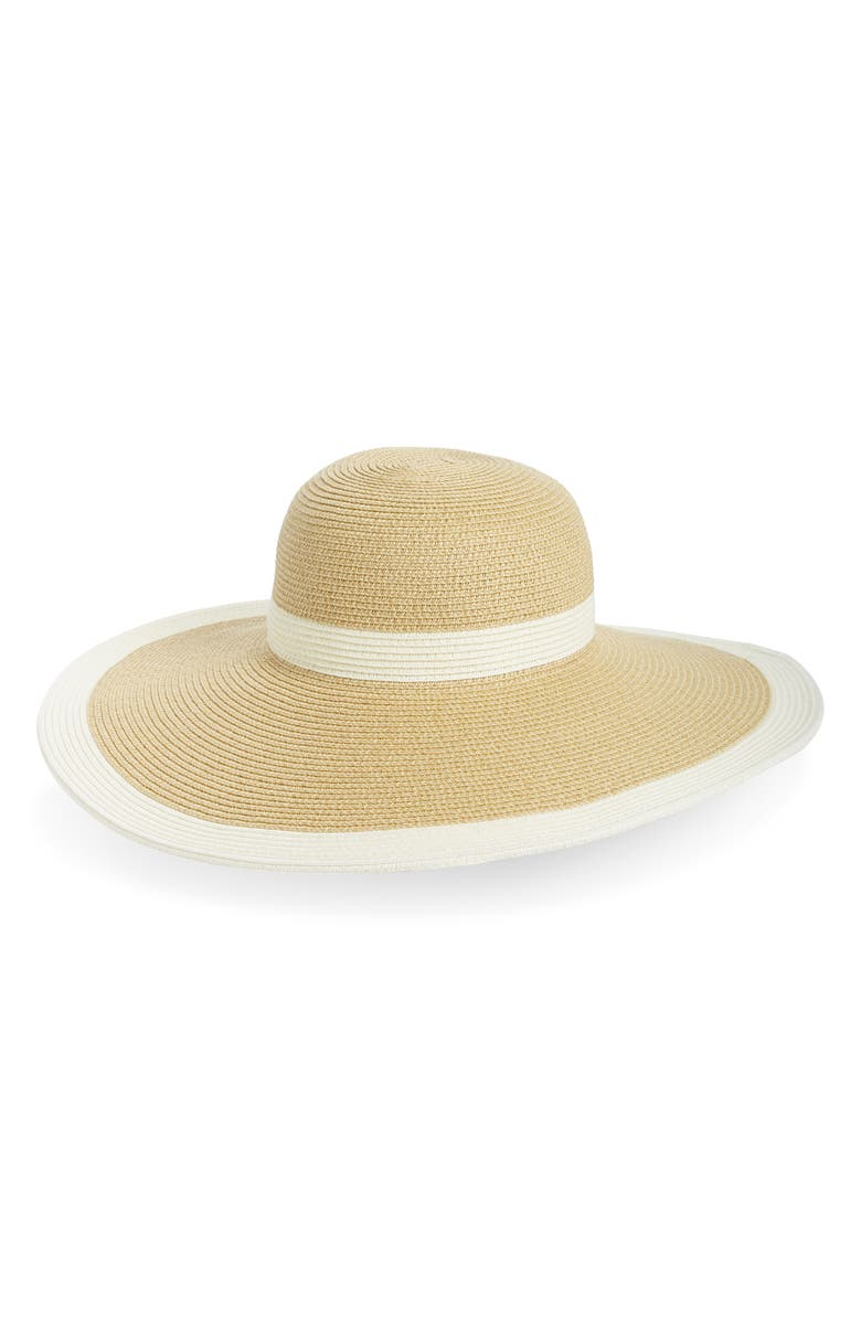 SAN DIEGO HAT Sand Diego Hat Stripe Floppy Straw Hat, Main, color, NATURAL/ WHITE