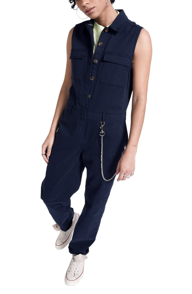 BP. + WILDFANG Sleeveless Utility Jumpsuit, Main, color, NAVY