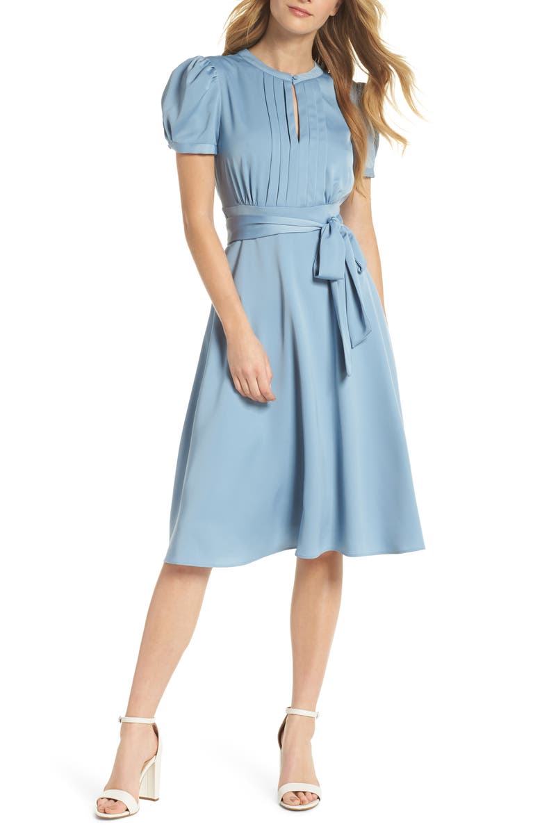 GAL MEETS GLAM COLLECTION Marilyn Satin Fit & Flare Dress, Main, color, CORNFLOWER