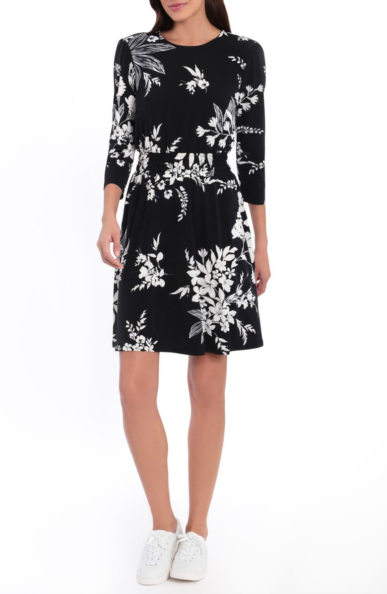 LONDON TIMES Floral 3/4 Sleeve Smocked Fit & Flare Dress, Main, color, BLACK/WHITE