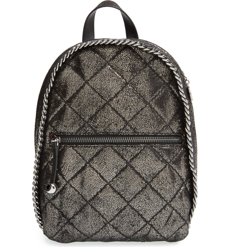 STELLA MCCARTNEY 'Mini Falabella' Quilted Faux Leather Backpack, Main, color, RUTHENIUM