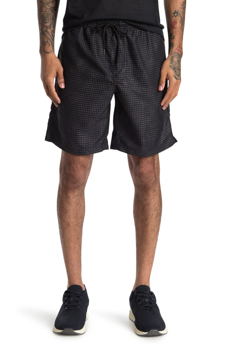 Z BY ZELLA Barrel Printed Swim Trunks, Main, color, BLACK LILLY TEXTURE