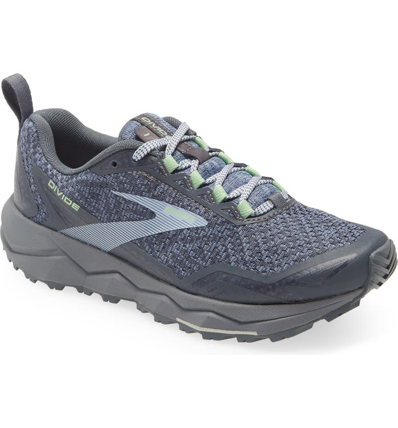 BROOKS Divide Trail Running Shoe, Main, color, GREY/ TURBULENCE/ GREEN