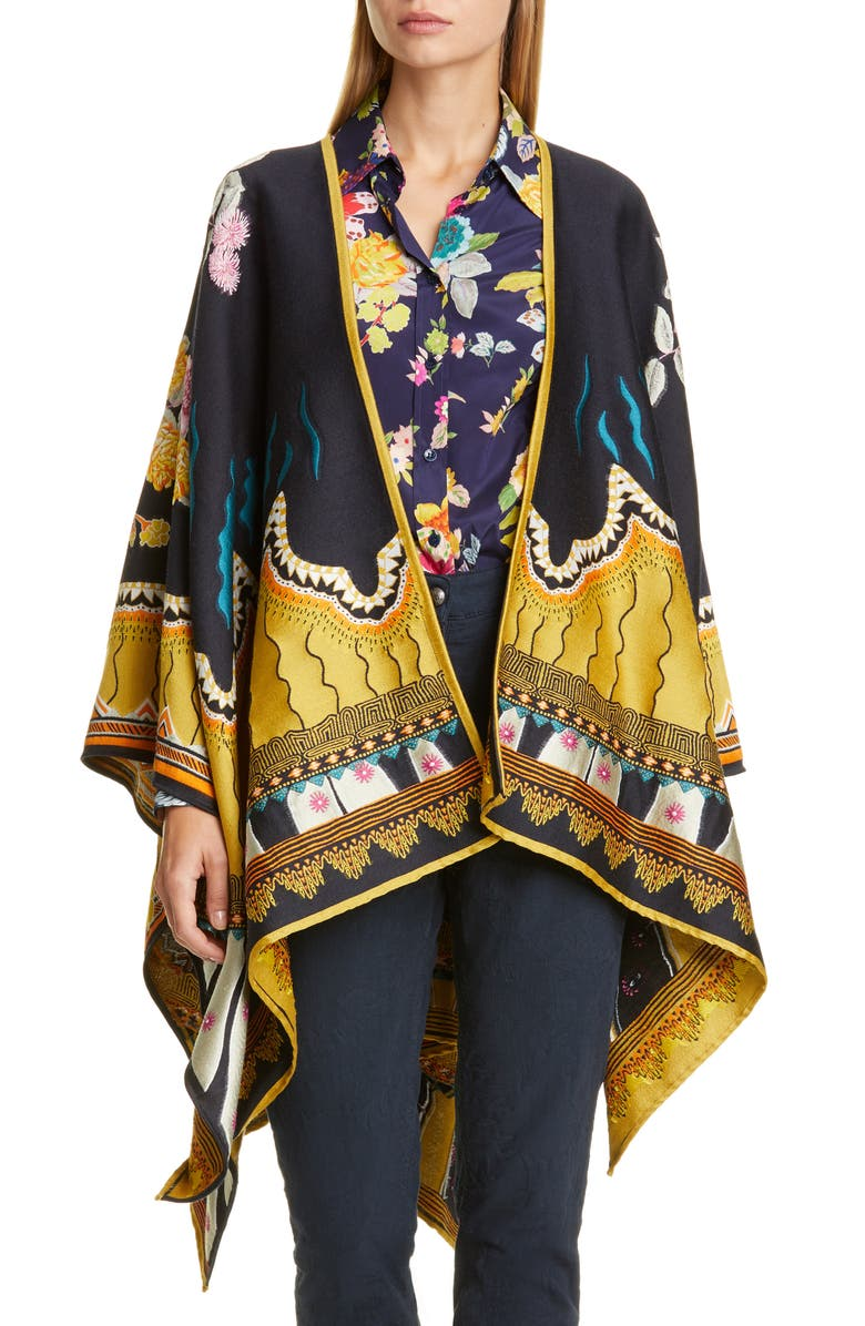 ETRO Jacquard Wool Blend Open Front Poncho, Main, color, 410