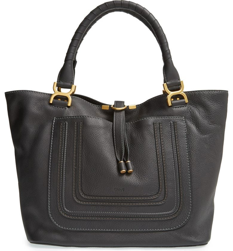 CHLOÉ 'Marcie - New' Leather Tote, Main, color, 001
