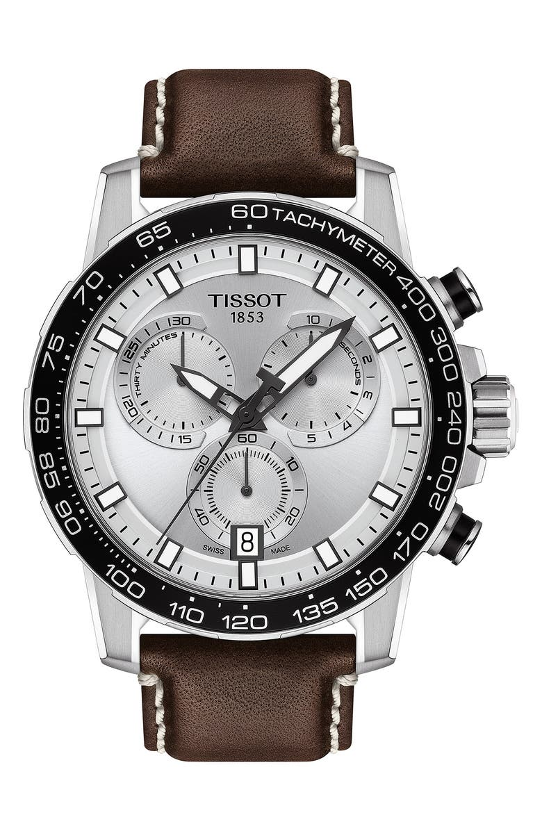 TISSOT Supersport Chronograph Leather Strap Watch, 45.5mm, Main, color, BROWN/ SILVER