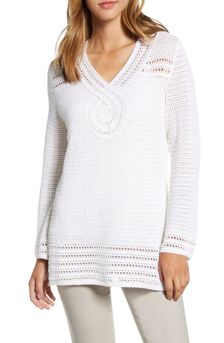 TOMMY BAHAMA Sand Dollar Shimmer Tunic Sweater, Main, color, 710