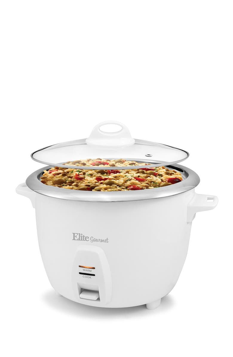 MAXI-MATIC Elite Gourmet 10-Cup (Uncooked) Rice Cooker with Stainless Steel Cooking Pot, Main, color, WHITE