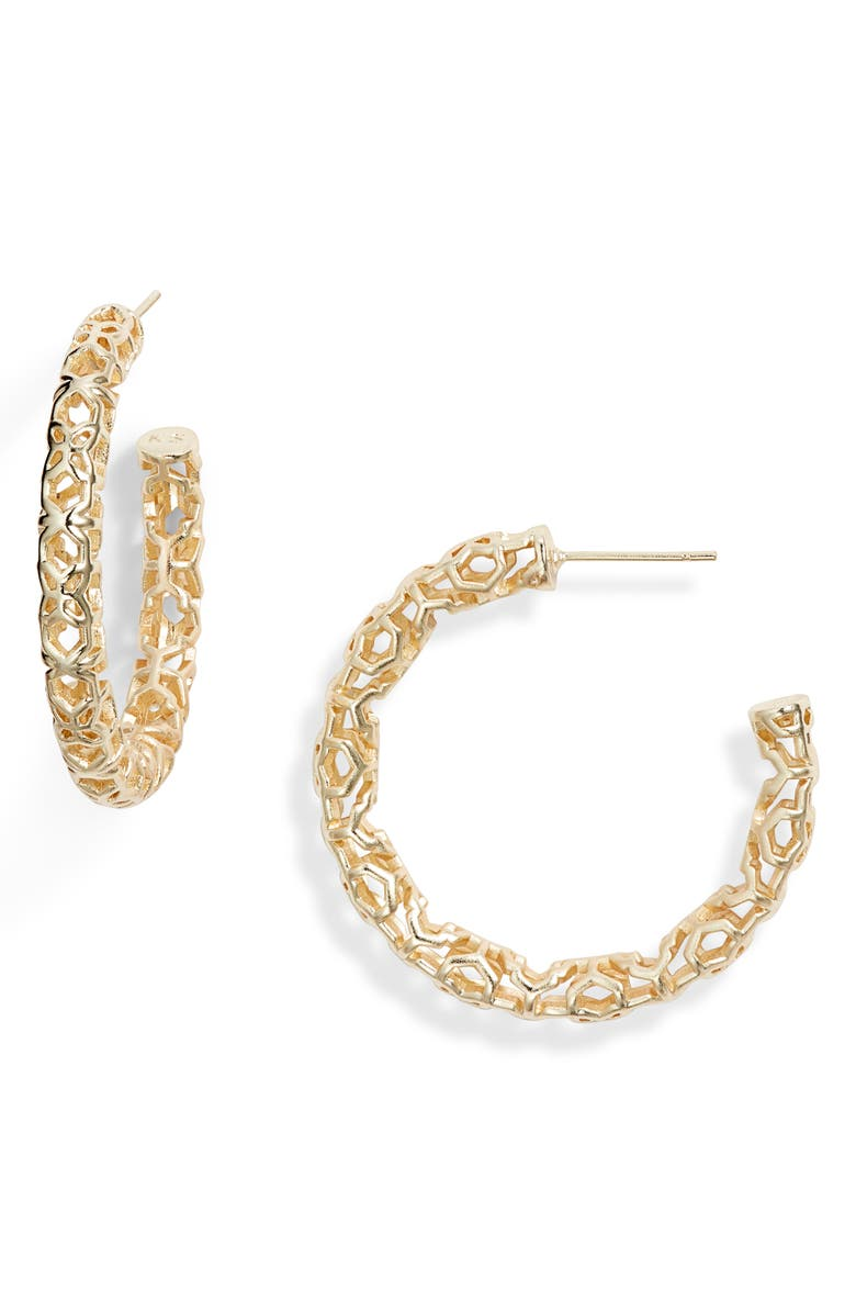 KENDRA SCOTT Maggie Medium Hoop Earrings, Main, color, GOLD FILIGREE