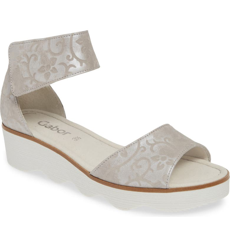 GABOR Wedge Sandal, Main, color, GREY TEXTURED LEATHER