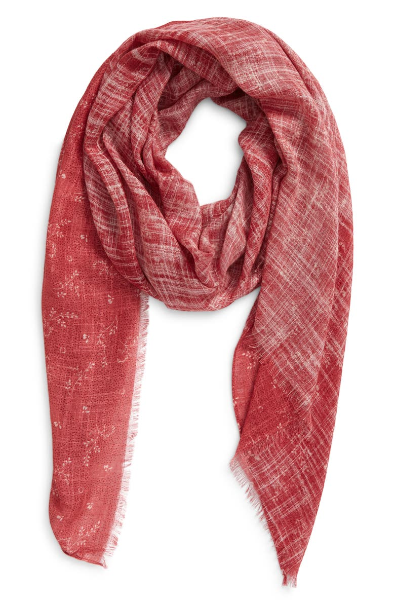 TREASURE & BOND Women's Relaxed Scarf, Main, color, PINK DOTTED SPRIGS