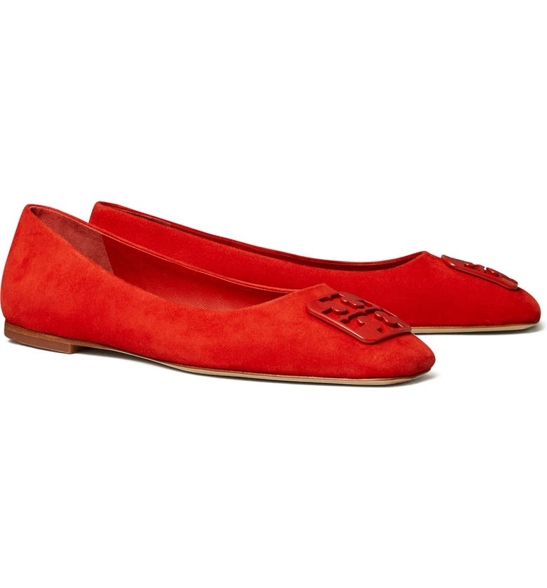 TORY BURCH Georgia Square Toe Ballet Flat, Main, color, TRIPLE RED SUEDE