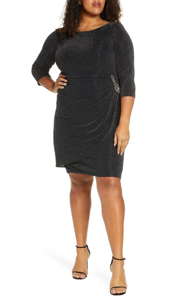 ALEX EVENINGS Side Ruched Metallic Cocktail Dress, Main, color, BLACK SILVER