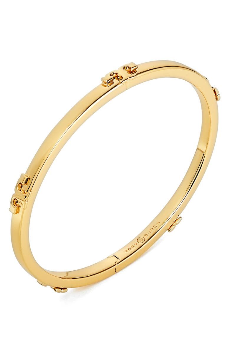 TORY BURCH Serif-T Stackable Bracelet, Main, color, TORY GOLD MIXED METAL