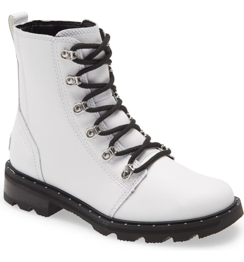 SOREL Lennox Lace-Up Bootie, Main, color, WHITE LEATHER