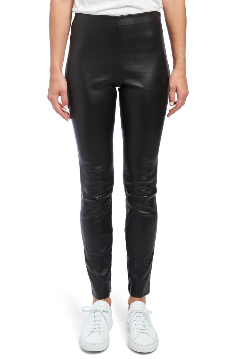 THEORY Leather Skinny Leggings, Main, color, 001