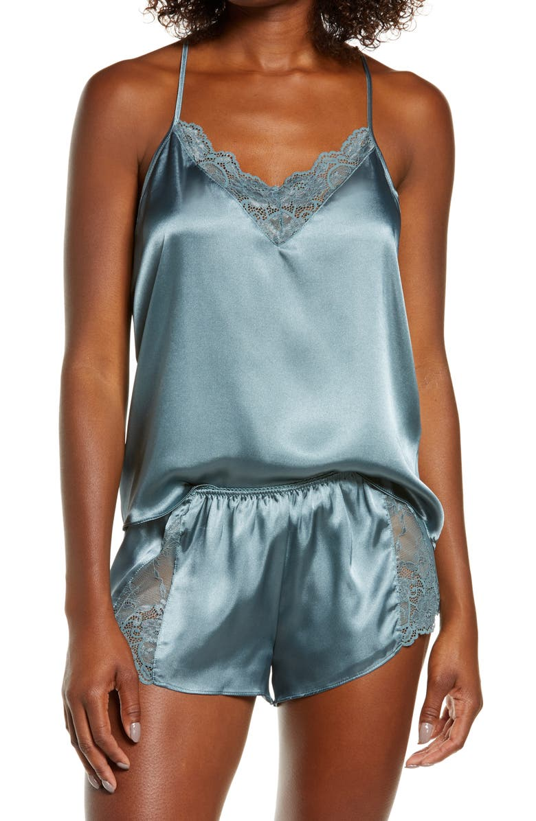 IN BLOOM BY JONQUIL Grace Short Satin Pajamas, Main, color, GOBLIN BLUE
