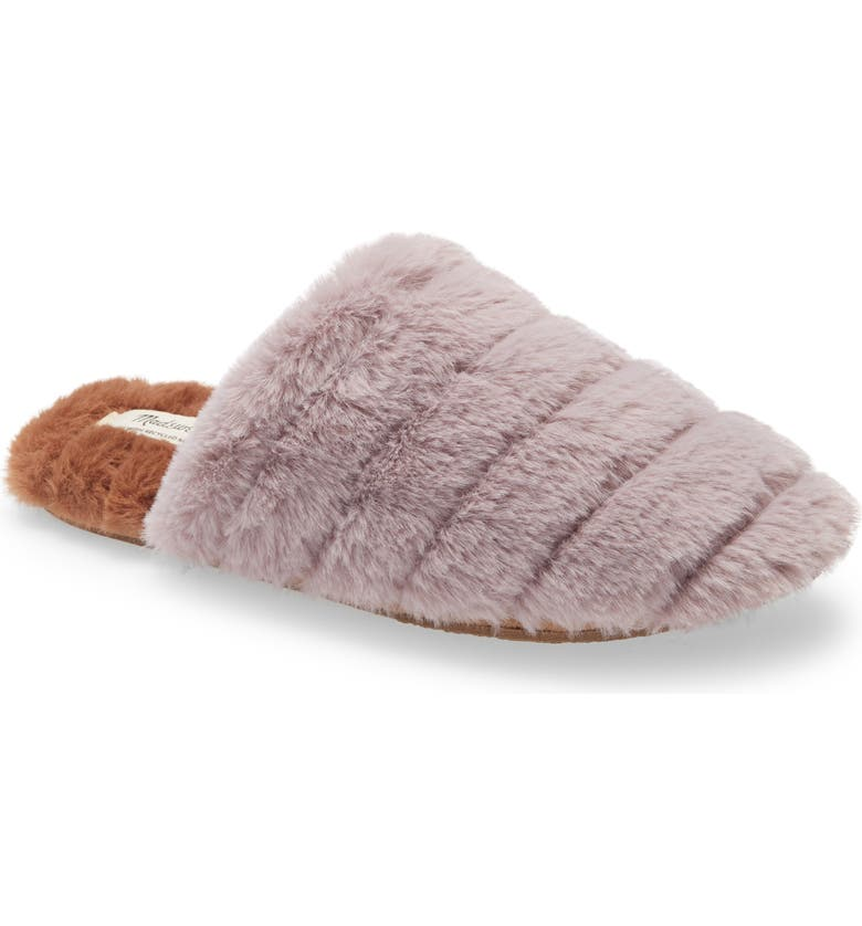 MADEWELL Recycled Faux Fur Quilted Scuff Slipper, Main, color, 555